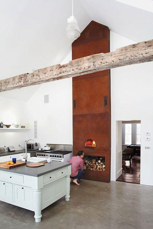 camino in cucina moderna