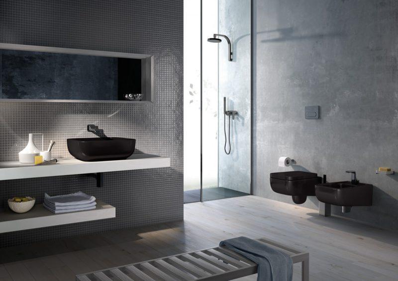 Bagno nero e grigio per i sanitari spazio soluzioni for Arredo casa bagno