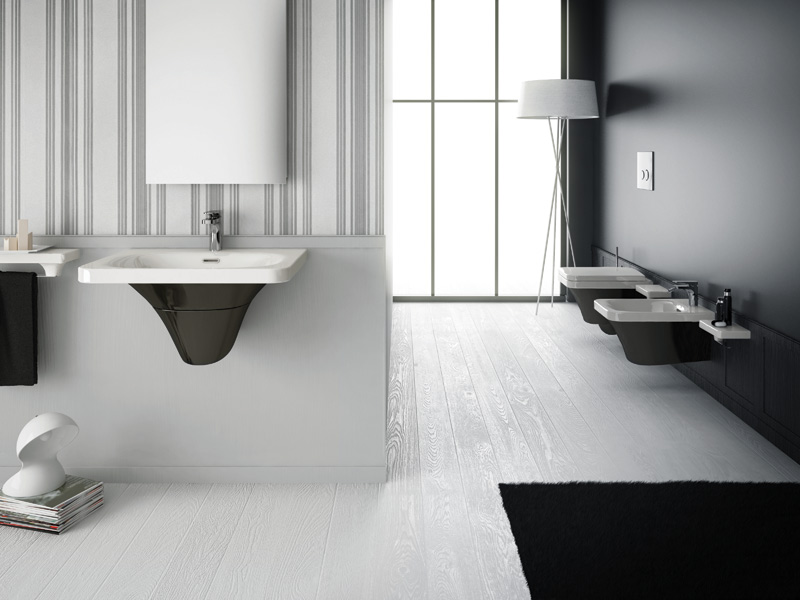 Bagno nero e grigio per i sanitari spazio soluzioni - Bagno grigio e bianco ...