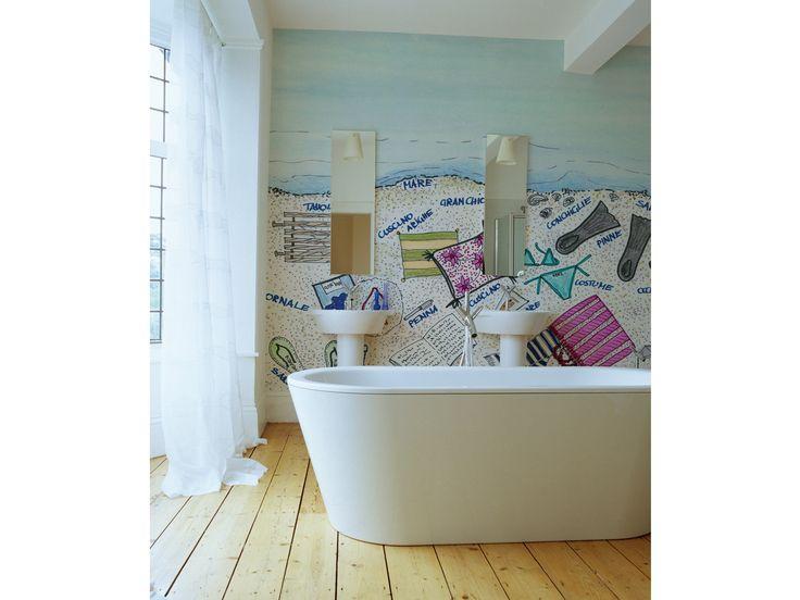 Carta da parati un classico dell interior design spazio soluzioni - Carta parati bagno ...