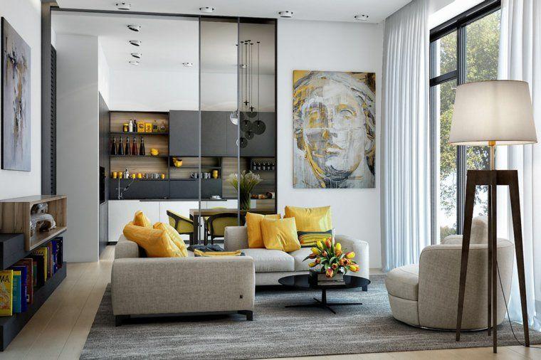 Arredare-il-salotto-in-giallo-e-grigio