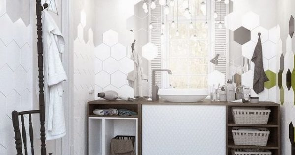 Bagno con piastrelle esagonali spazio soluzioni
