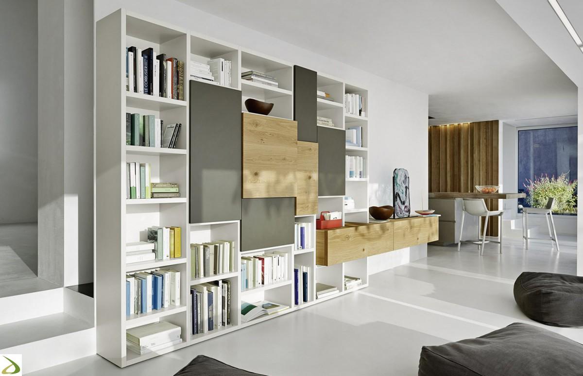 Sangiacomo parete libreria a muro moderna da soggiorno for Arredare libreria